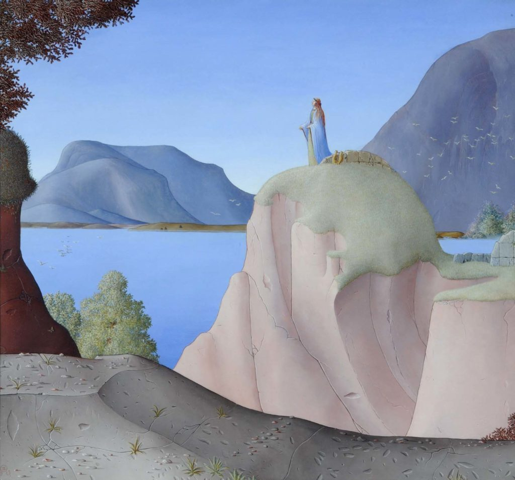 painting of a woman looking out across a bay towards islands