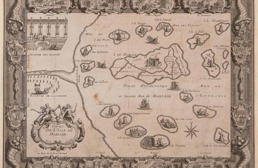 drawn and engraved printed map wit various small symbols surrounded by a sea