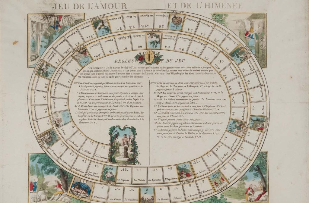 circular game with marked out boxes illustrated with romantic or courtly scenes