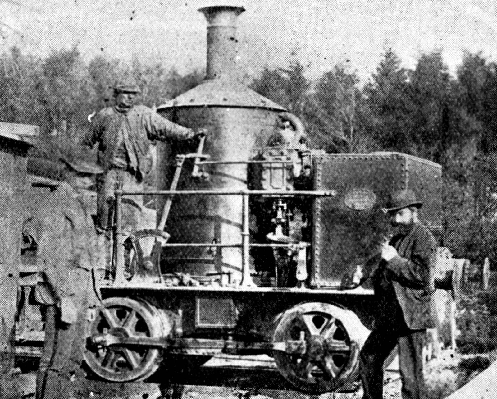 black and white photo of steam locomotive with a large boiler like a coffee pot