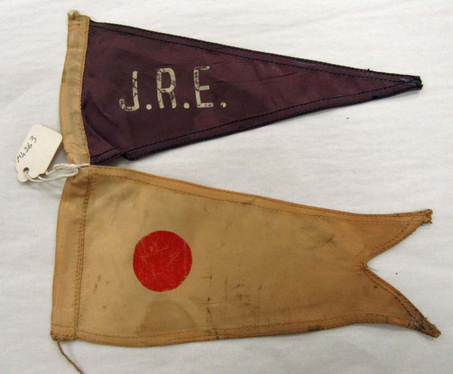a pair of pennant style flags