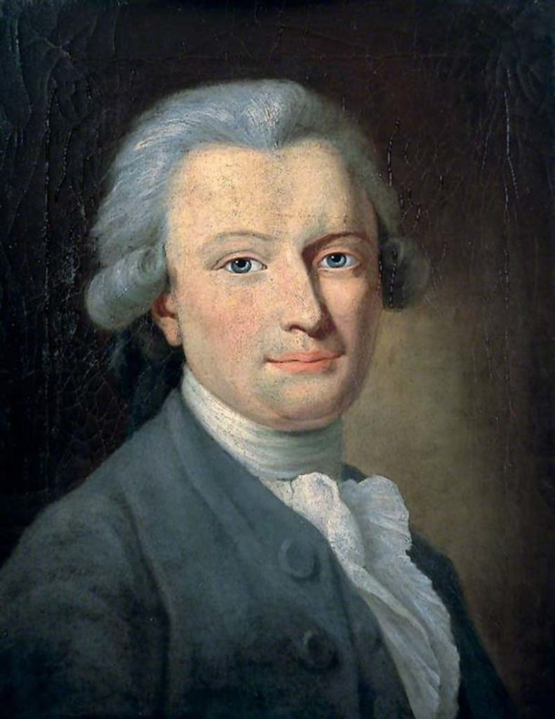 oil portrait of a man with a ruffled collar and eighteenth century style wig