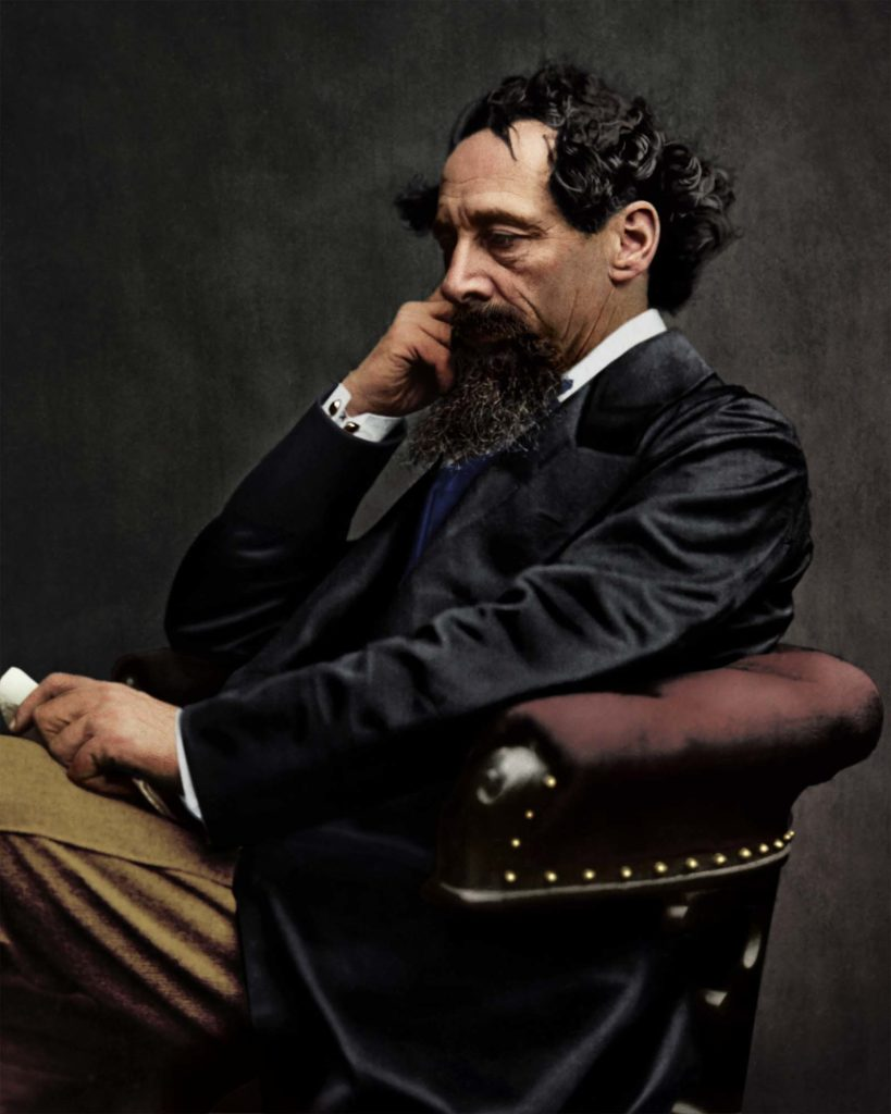 colour photo of Charles Dickens in side profile
