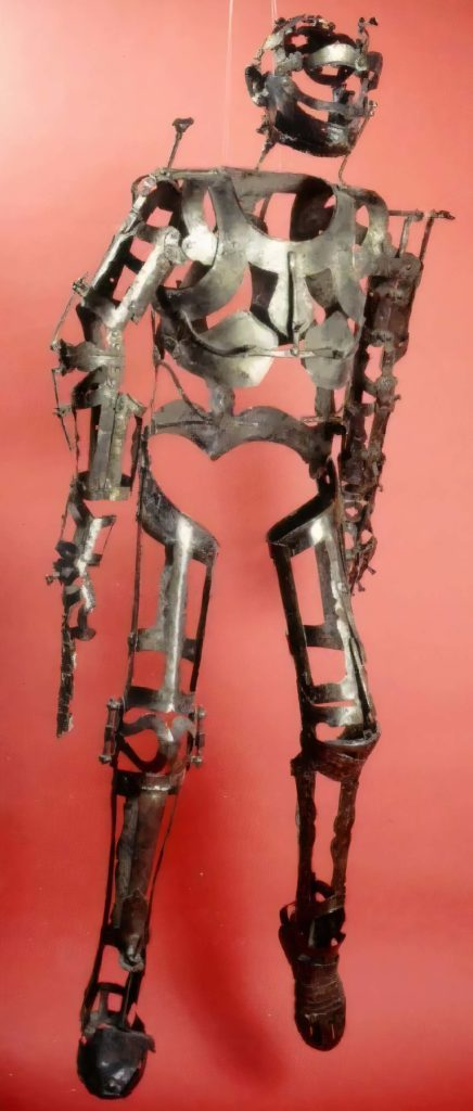 robotic like metal frame in the shape of a man
