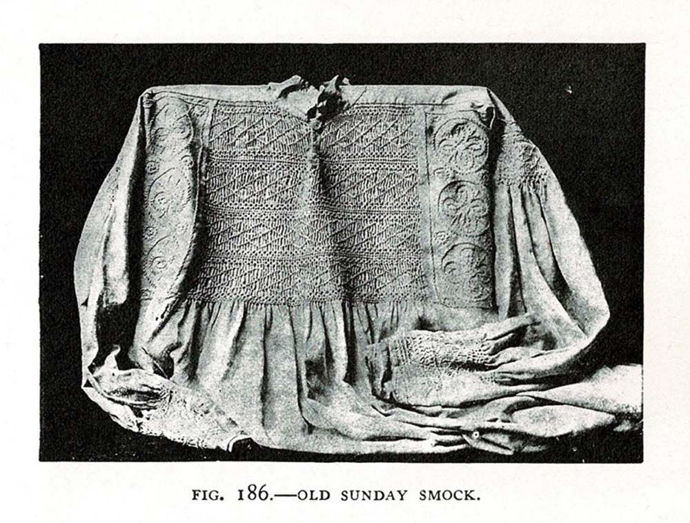 black and white picture of an embroidered smock