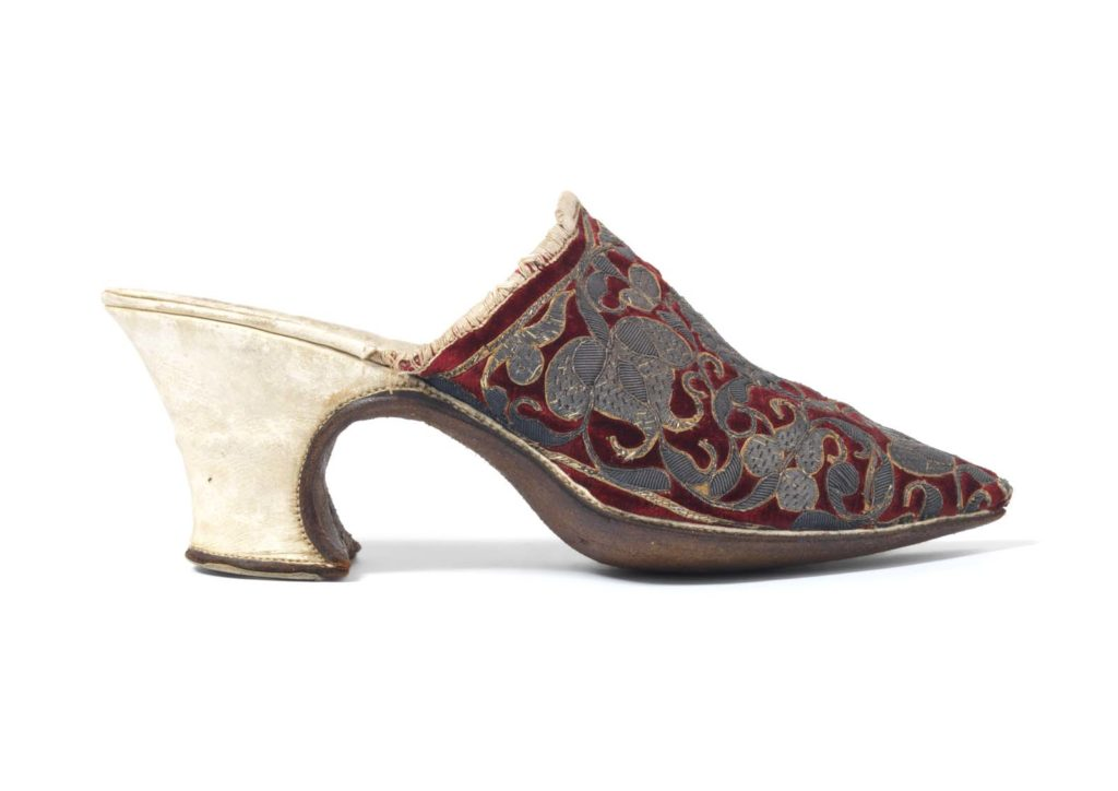 open backed high heel shoes with burgundy and grey fabric decoration