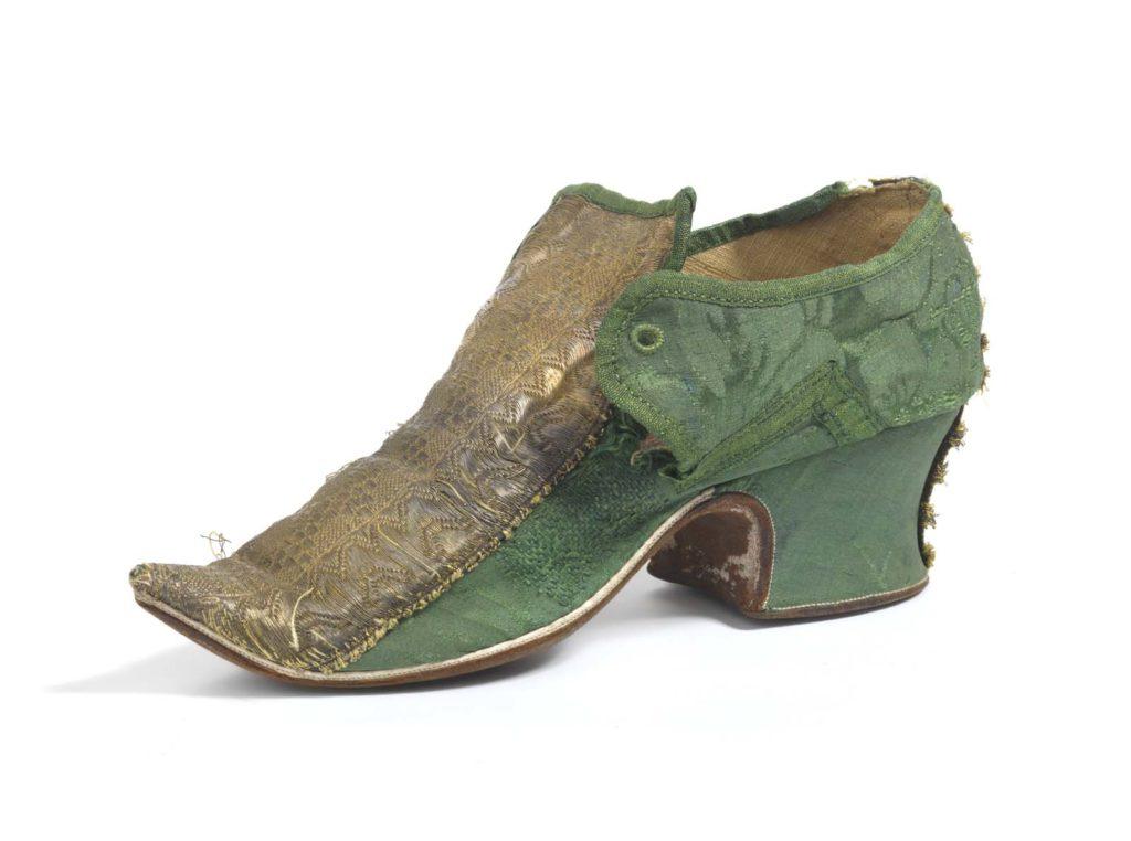 green silk high heel shoe with golden brocade top