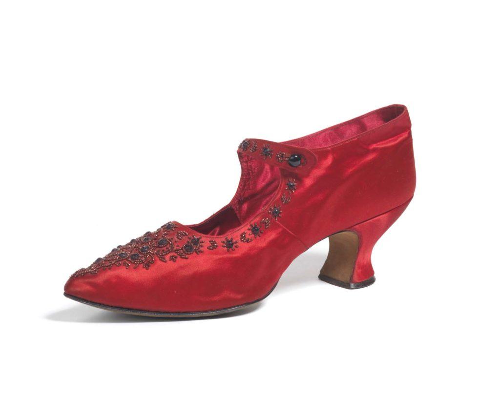 a red silk high-healed shoe