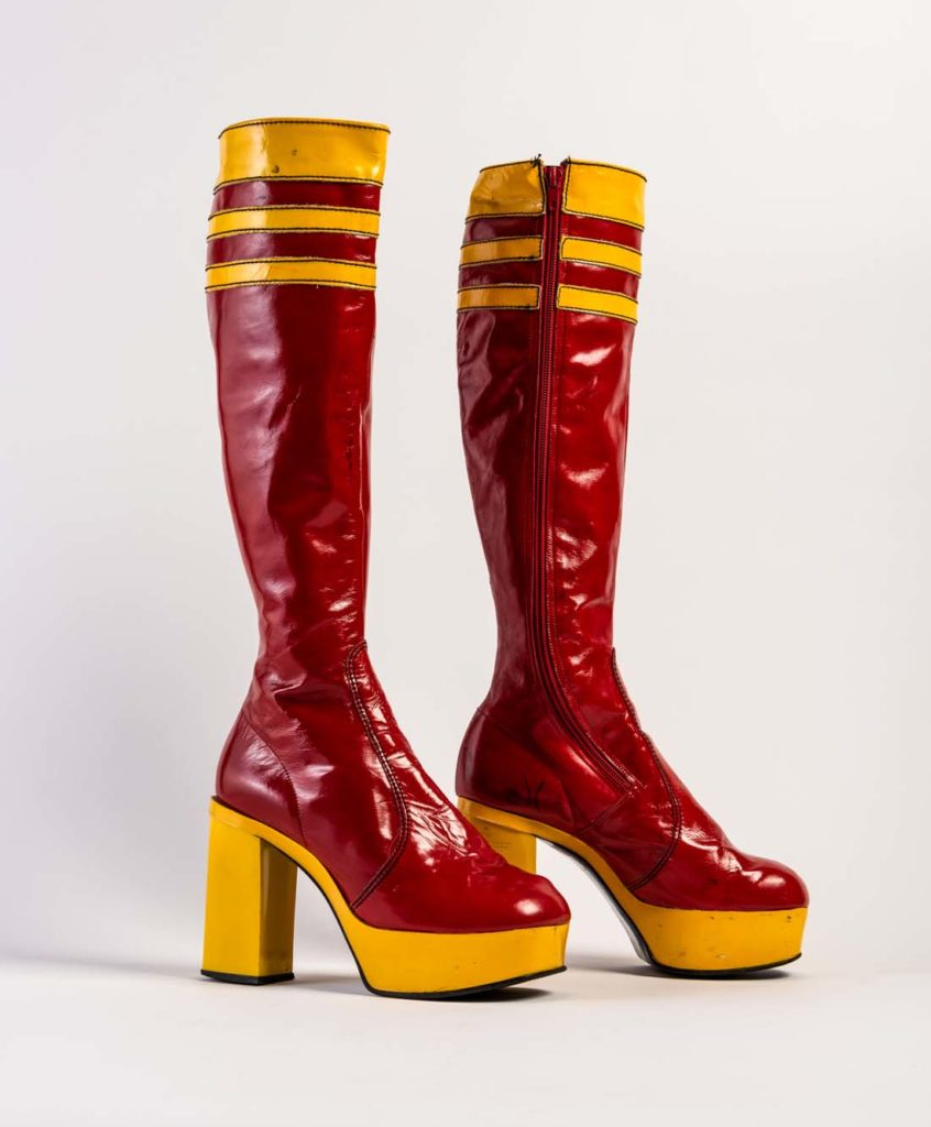 photo of a pair of high heeled platform boots