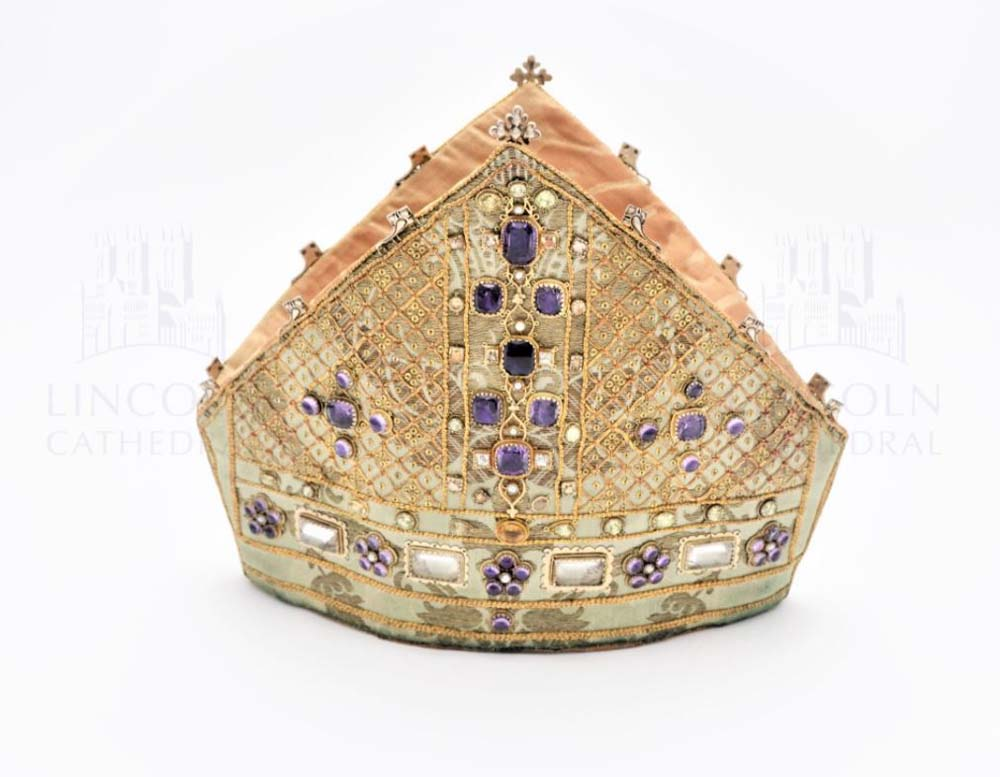bishops style hat in gold with jewels