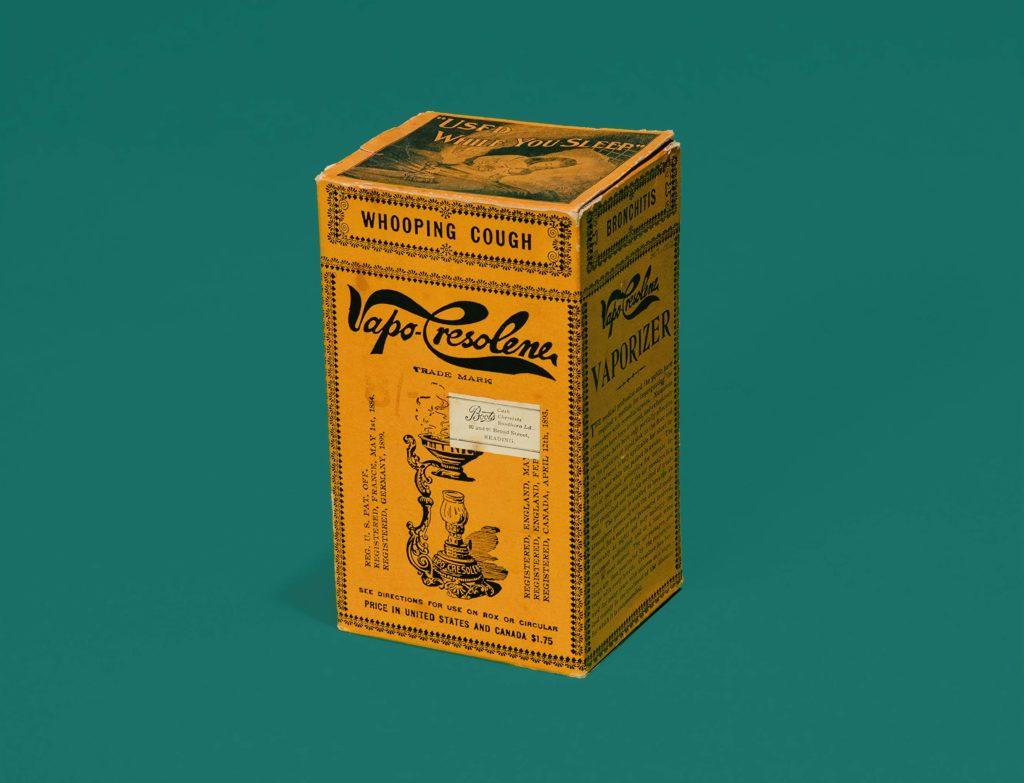 yellow packet with printing advertising VapoCresolene
