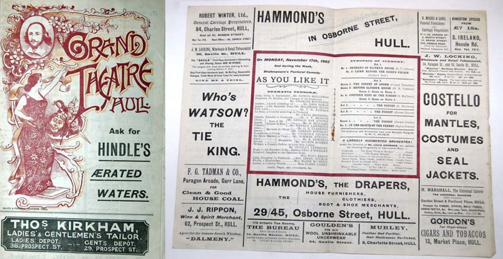 front cover and inside of a theatre programme