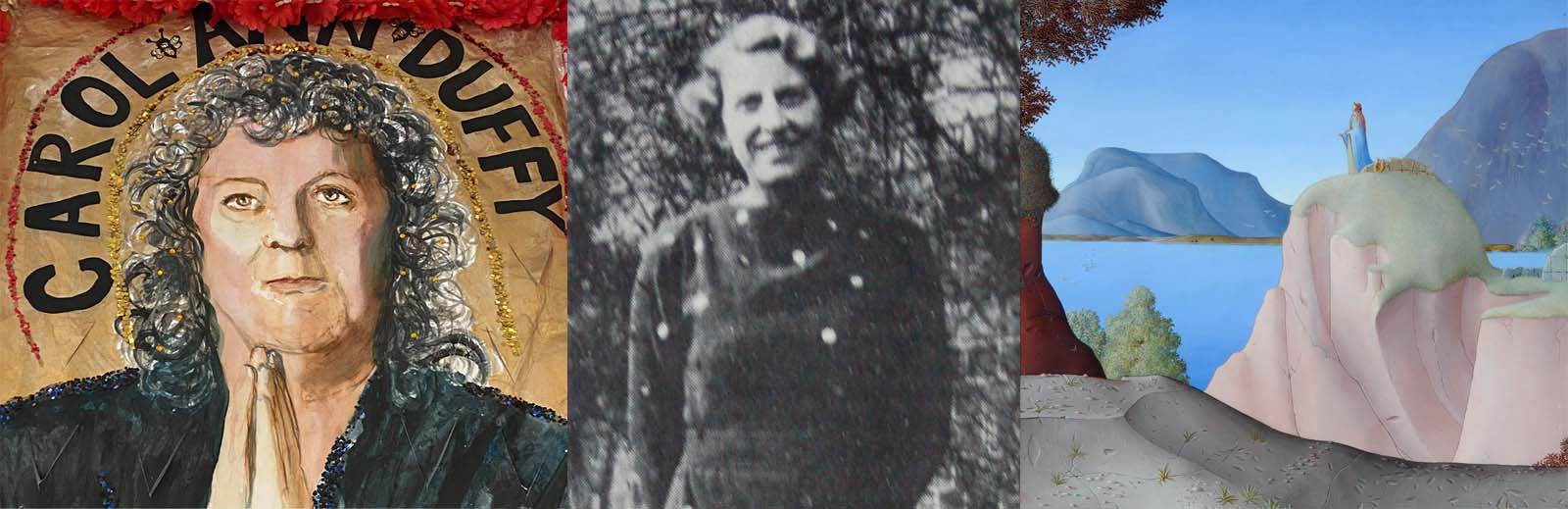 composite picture of a panting of Carol Ann Duffy, a photo of Winifred Holtby and a painting of Sappho