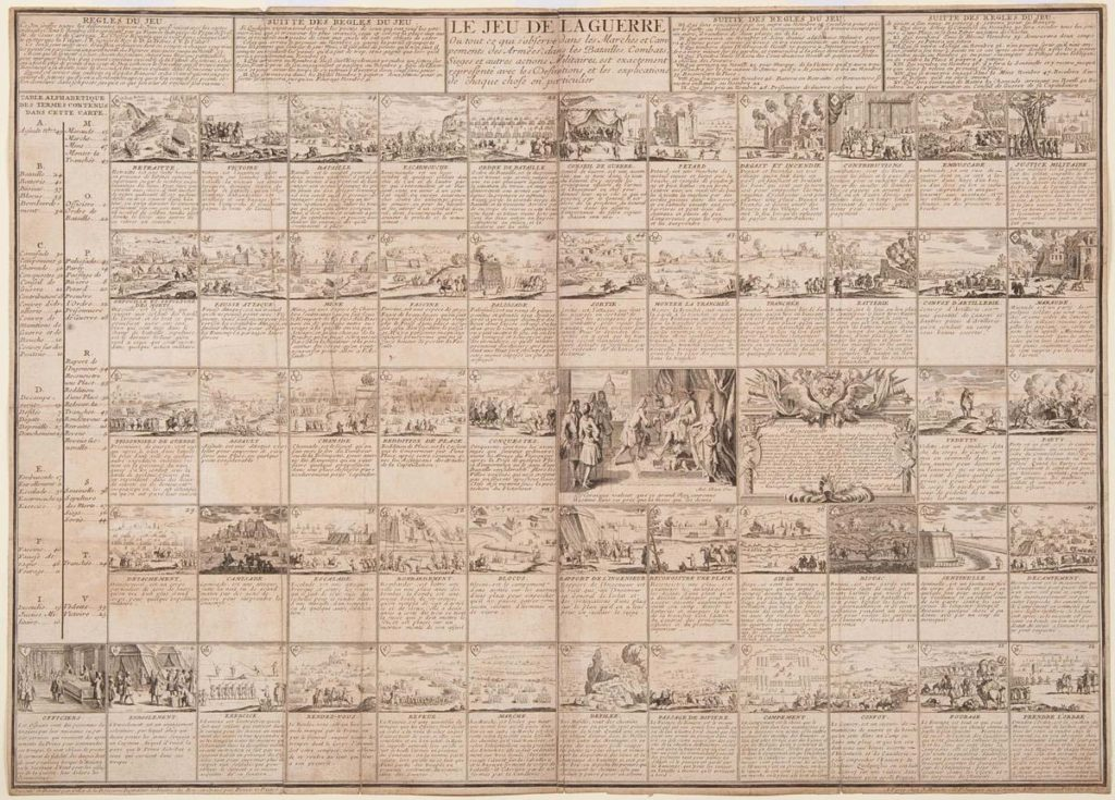 a printed board game consisting of squares with illustrations of military operations and soldiers