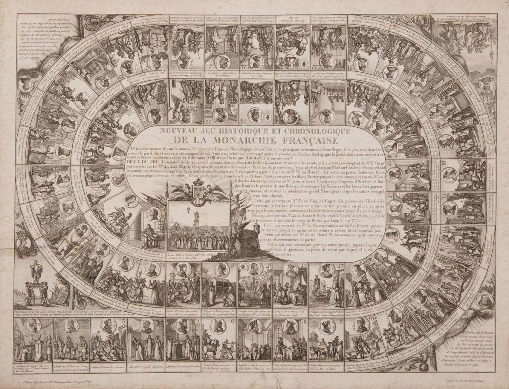 a printed game in a circular design with words and pictures of eighteenth century French royalty