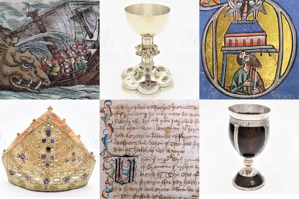 composite mosaic image showing manuscripts and chalices etc from Lincoln Cathedral collection