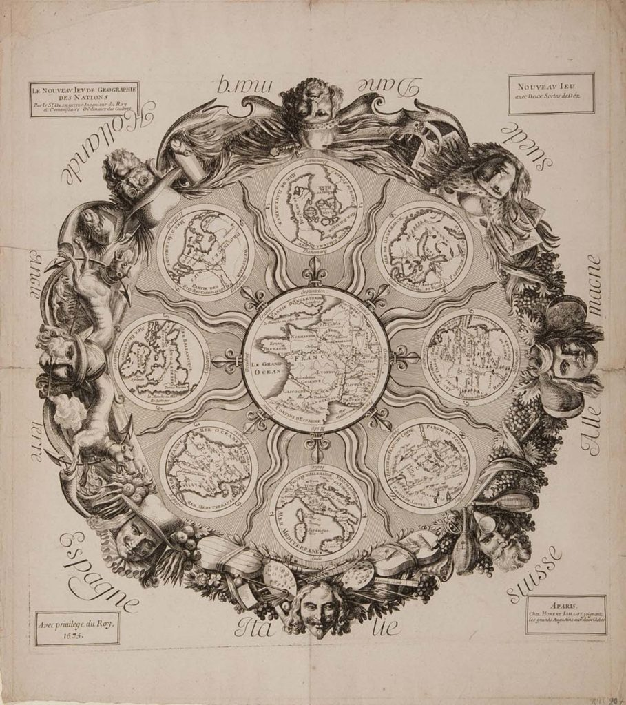 circular printed game with faces around a central circle divided into section representing different countries