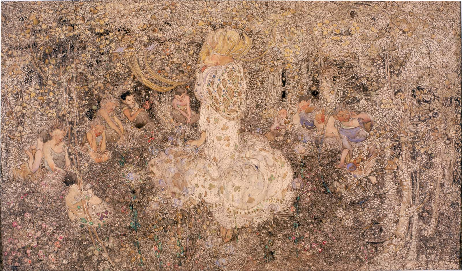 a golden painting depicting a sleeping woman inside a phallic flower in a forest clearing populated by elves