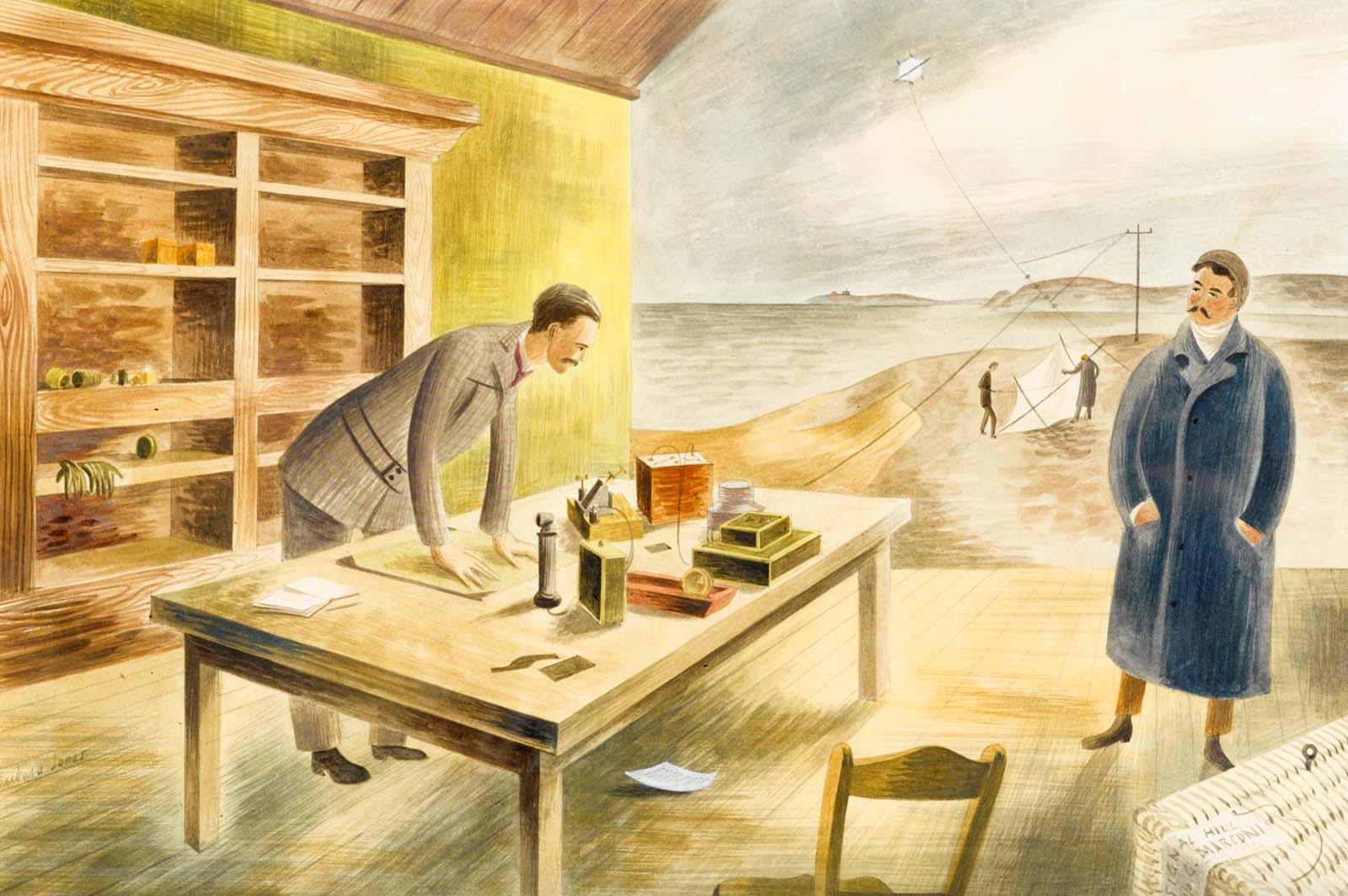 watercolour painting of two men elaning across a table in a open porchway with a coastal cliff landscape stretching out beyond them