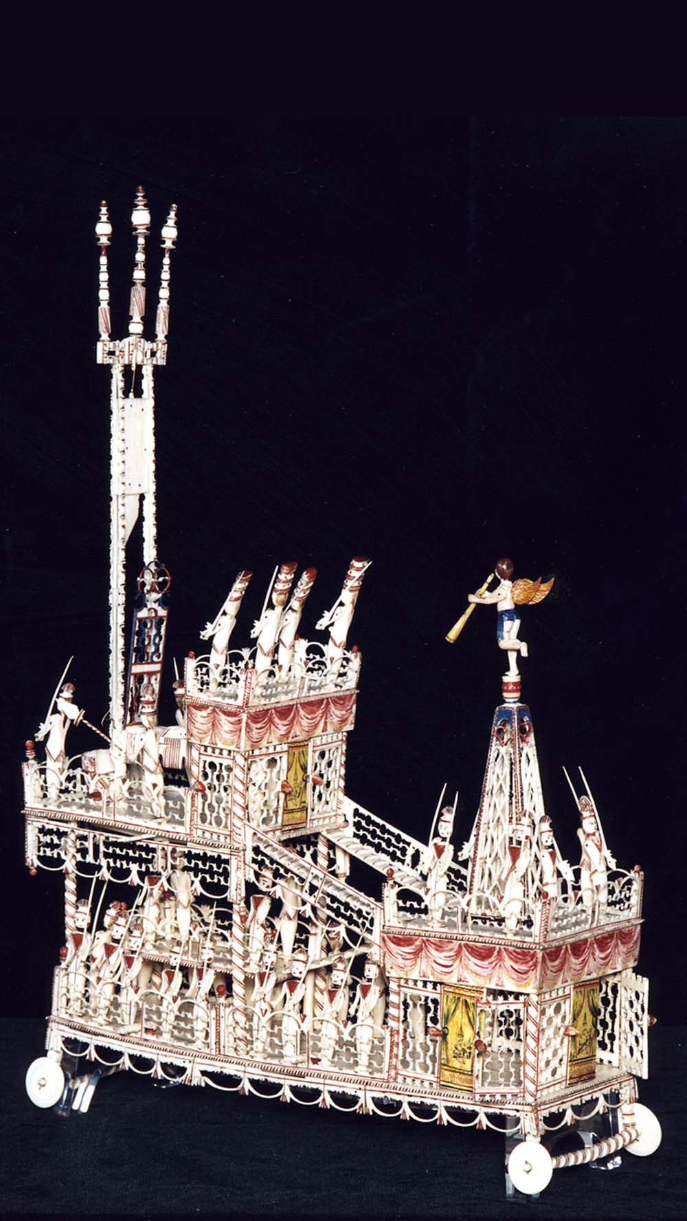 a model ship made from bone