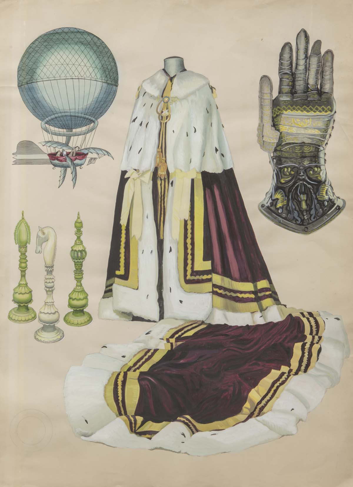 watercolour illustrations of an ermine gown, knights gauntlet, hot air balloon and chess pieces