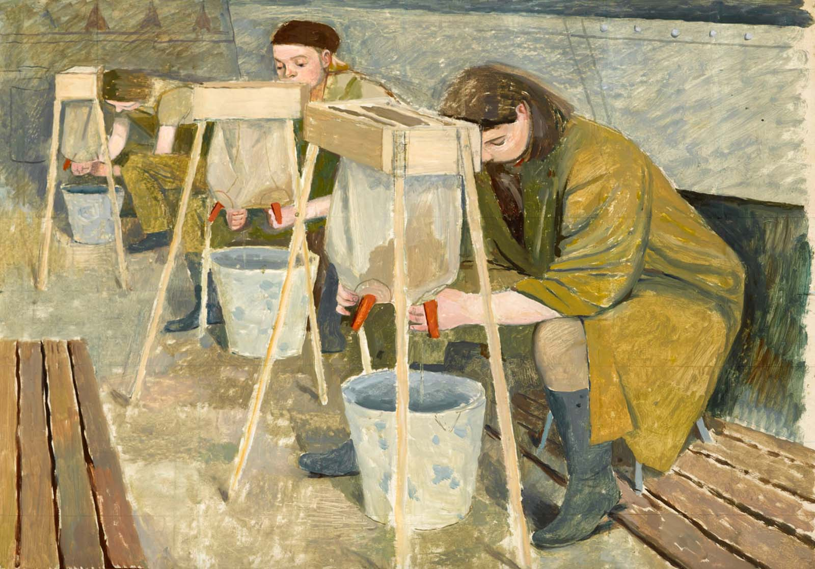 painting of a row of young women suing stands with simulated cows udders and buckets below themkets