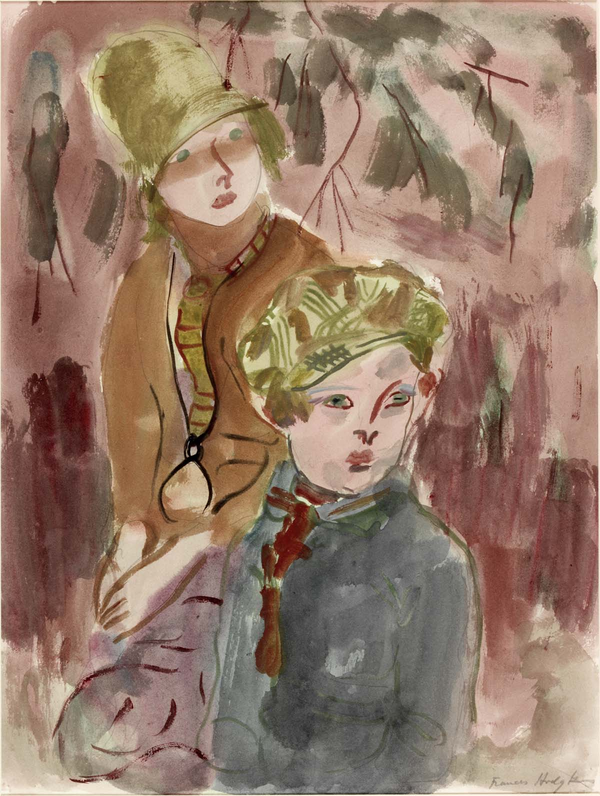 watercolour sketch of a young boy and girl in hats, scarves and winter coats