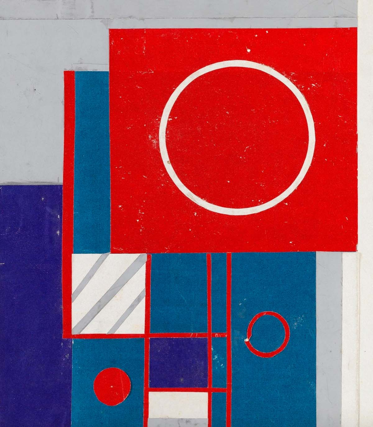 geometric abstract painting with blue and red squares with circles
