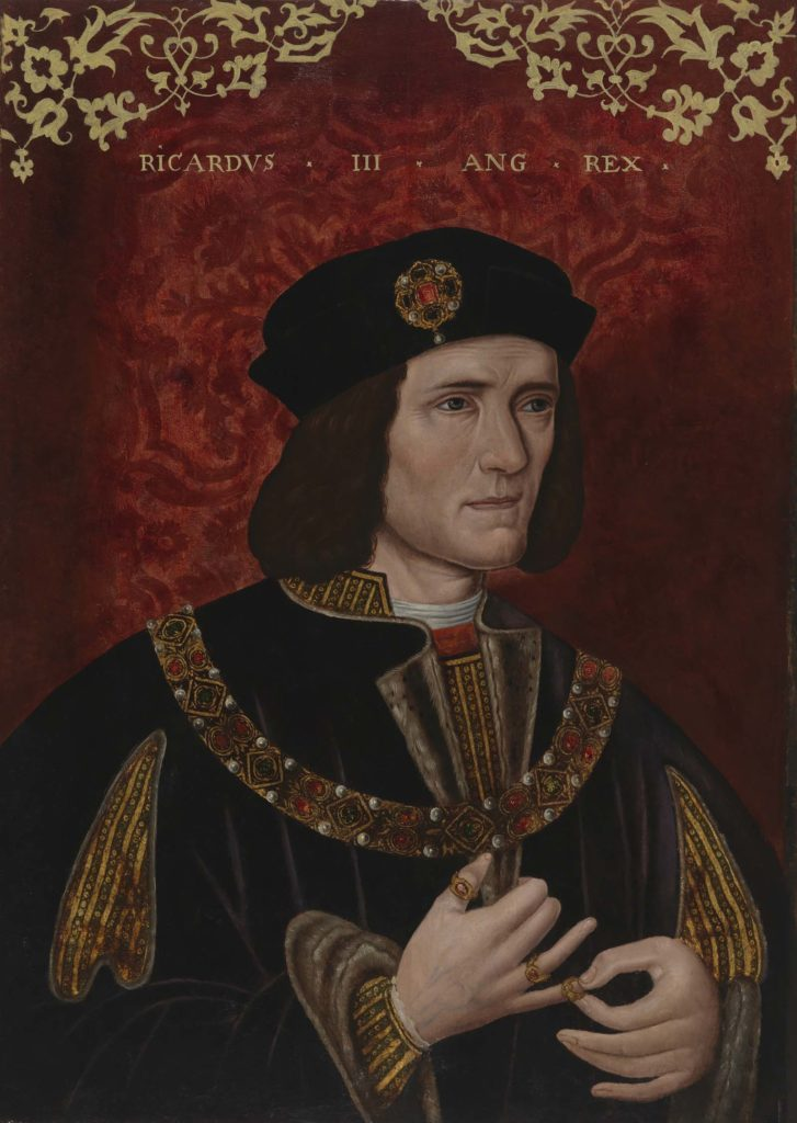 painted portriat of Richard III with velvet hat, shoulder length hair and royal robes in black with gold braid