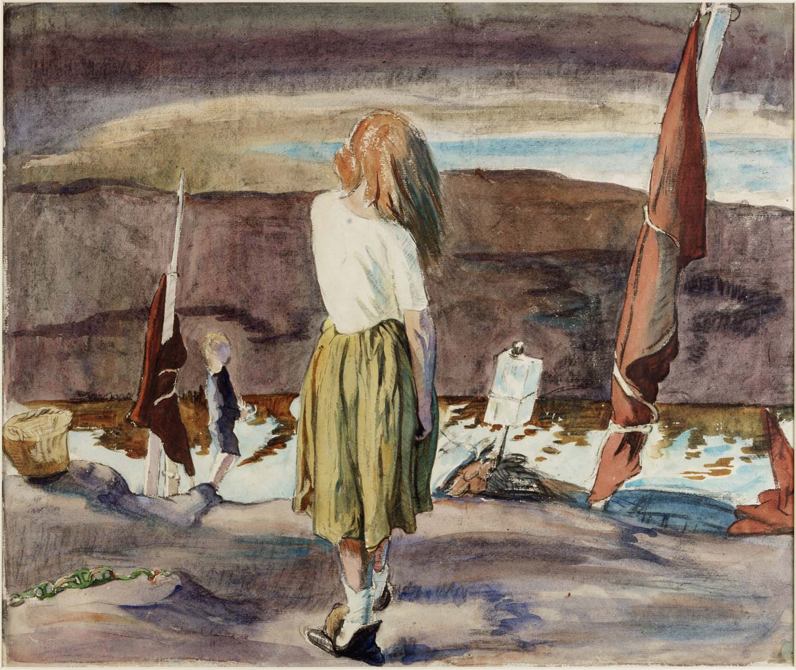 watercolour painting of a young female seen from behind looking out onto a semi-desolate landscape
