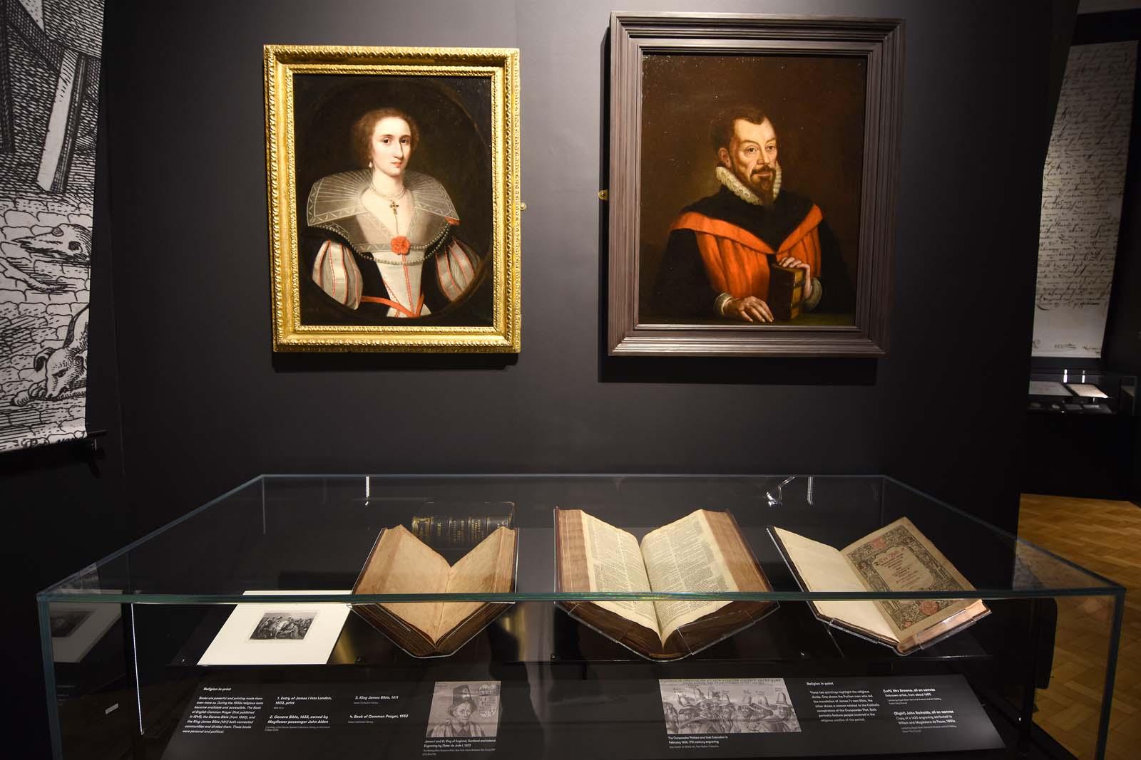 gallerty photo showing manuscripts and Elizabethan era portraits