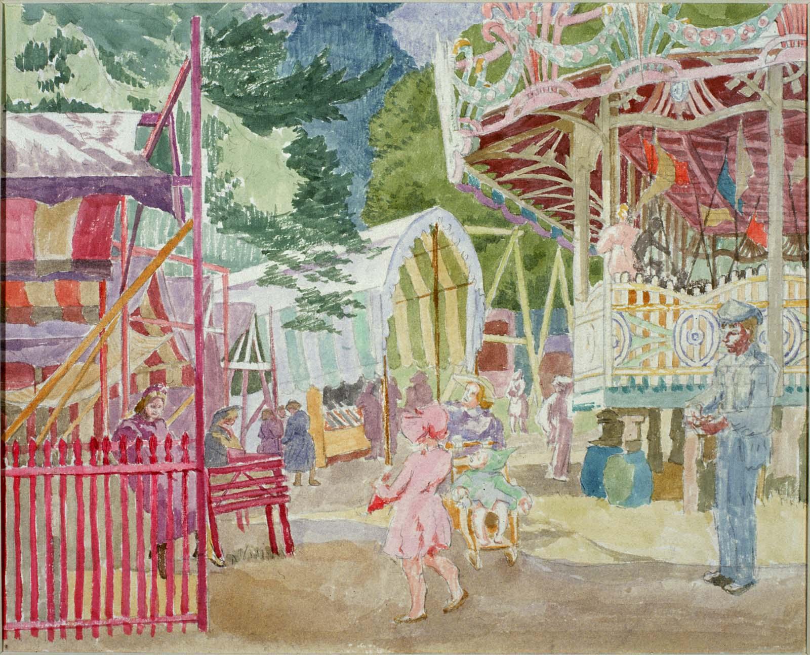 watercolour sketch of a fairground