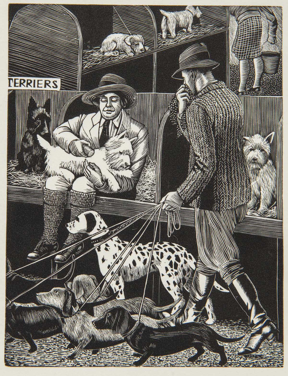 woodcut of a man walking a group of dogs past a stall with a seated woman combing a dog at a dog show