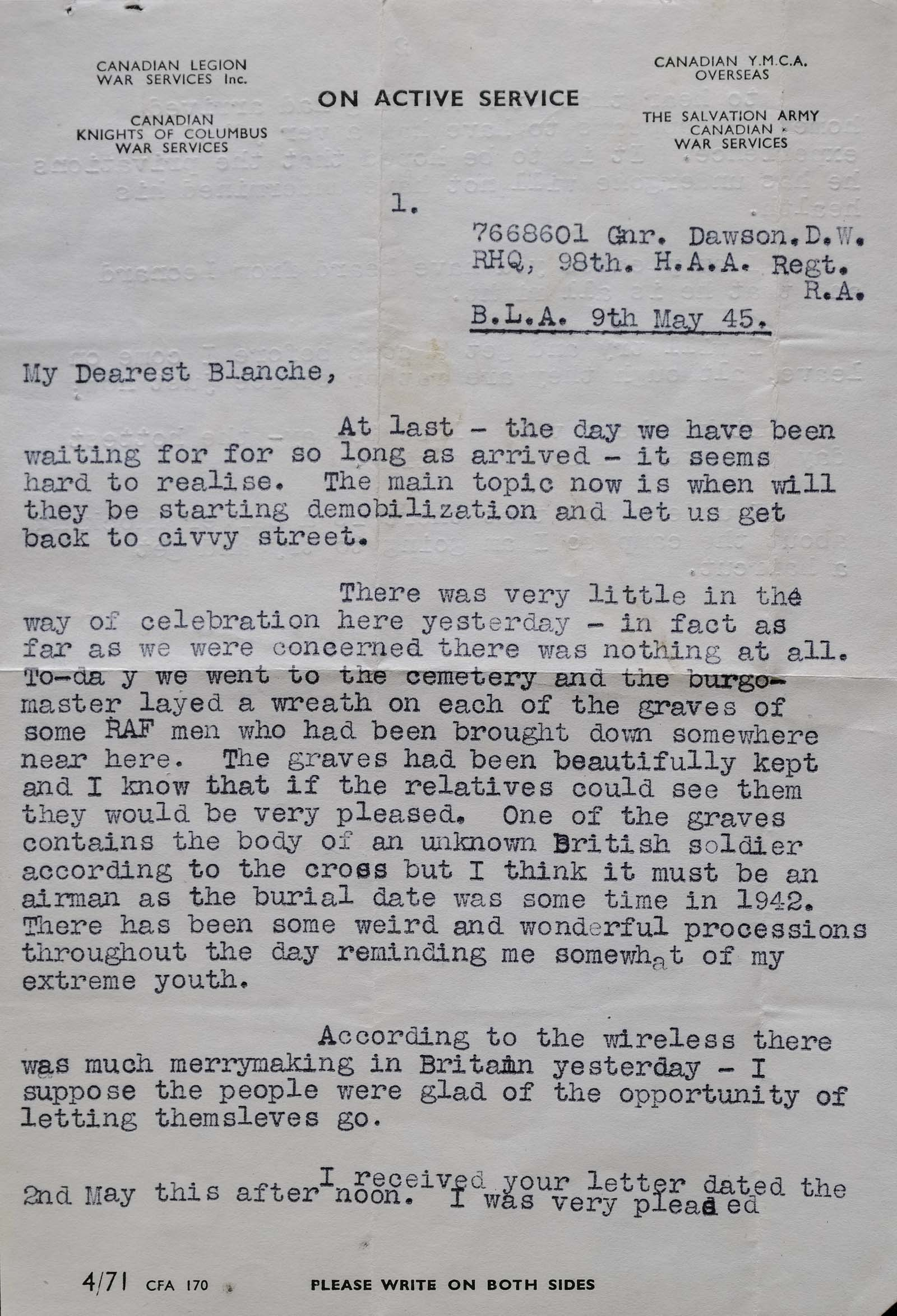 photograph of a typed letter