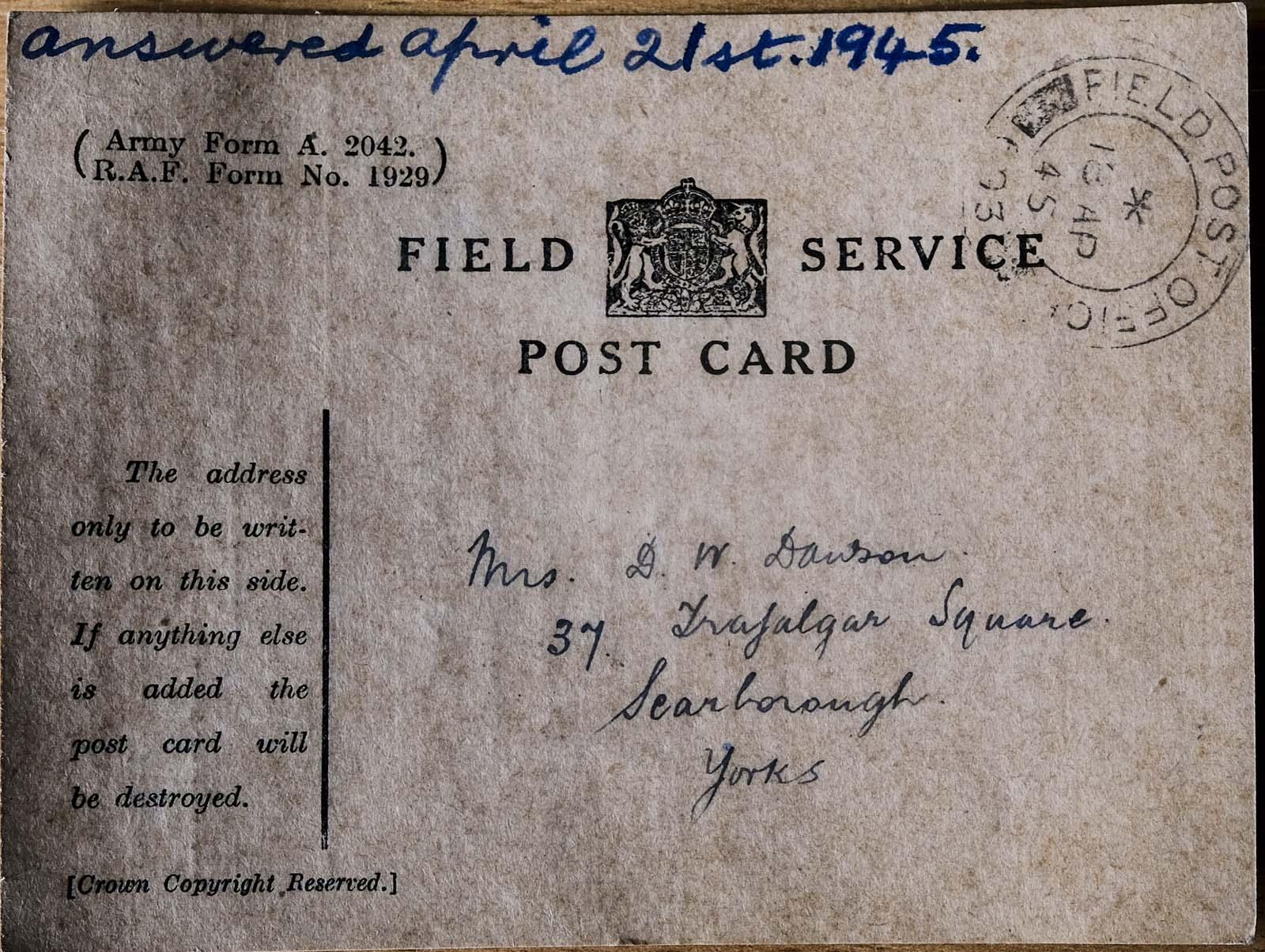a handwritten World War Two field service postcard