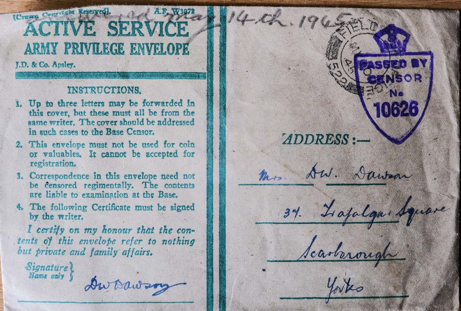 photo of an 'on active service envelope'