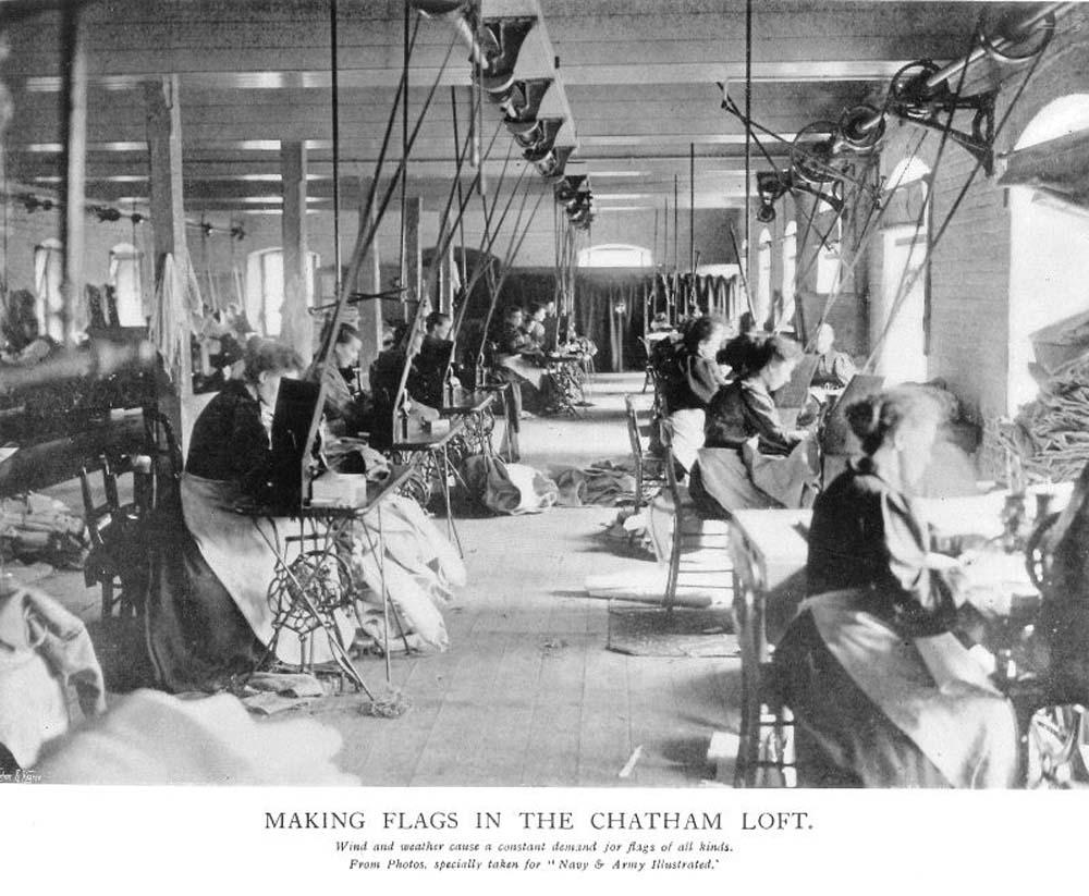 photoof women working on rope making loom machines