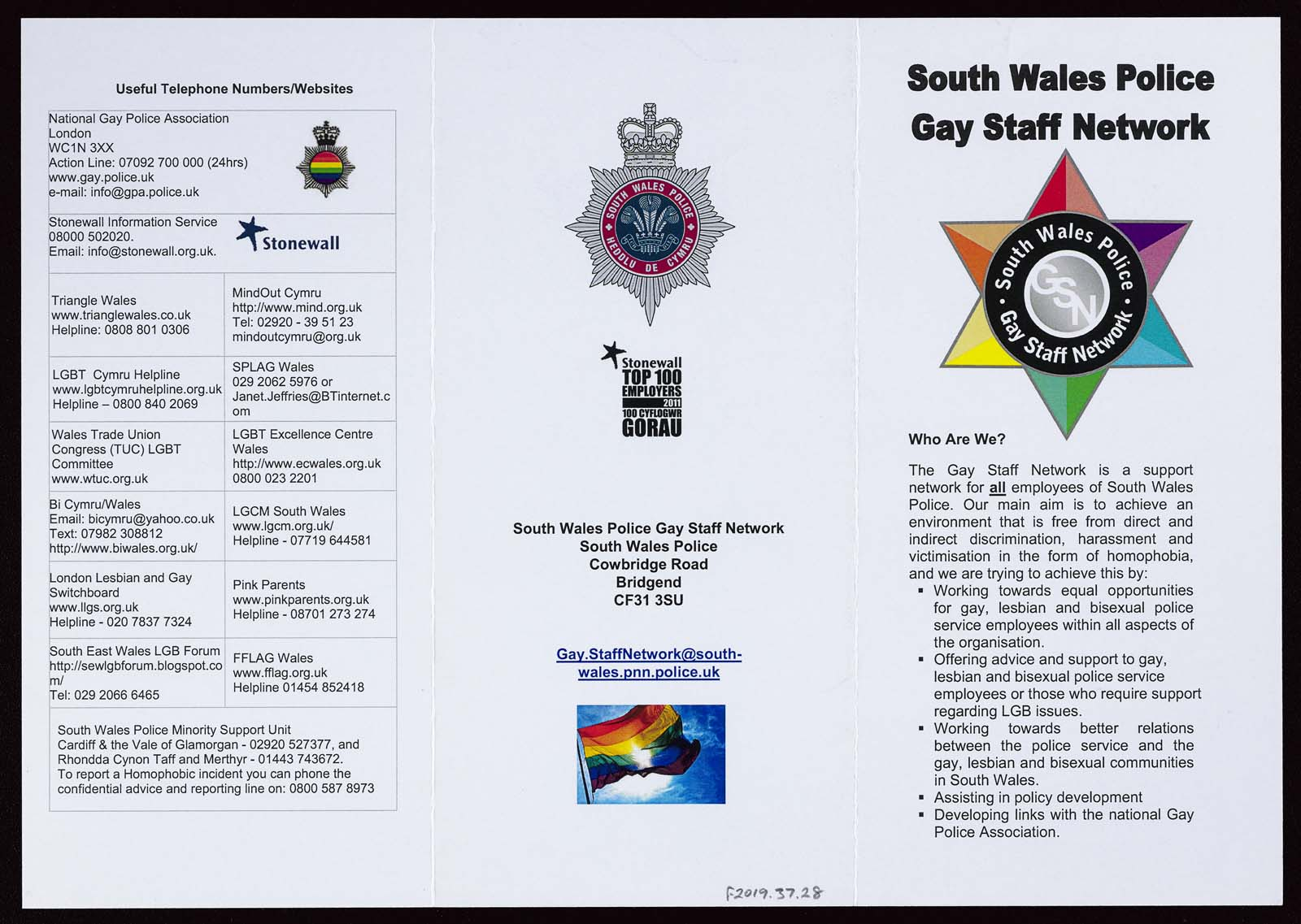 three part folding leaflet detailing LGBTQ+ support networks in the Welsh constabulary