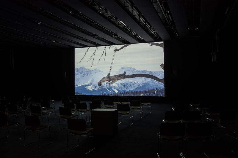 art film on show in dark cinema