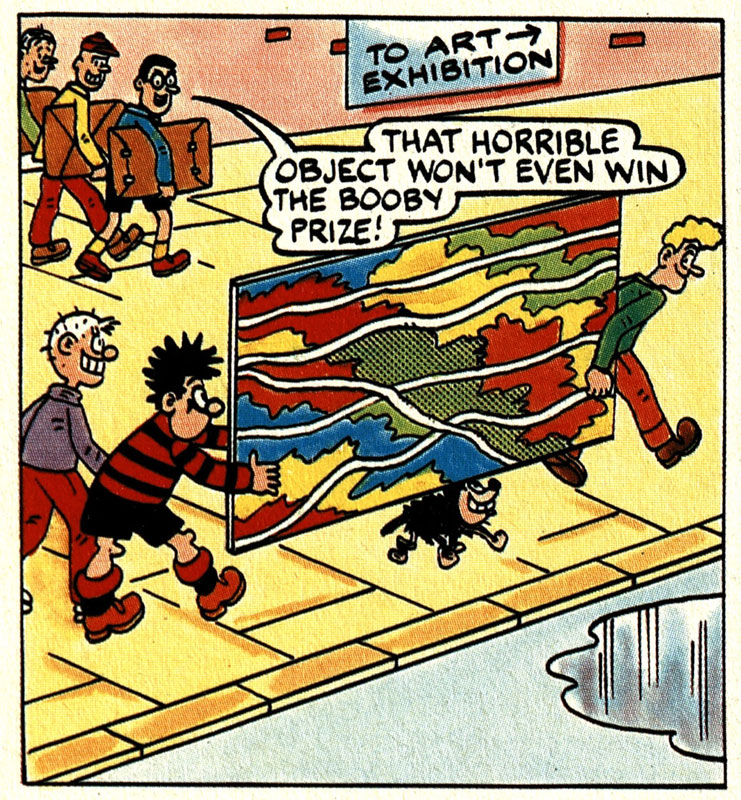 Dennis the Menace and Gnasher carrying a large abstract artwork with boys in the background saying 'that horrible object won't even win the booby prize!'