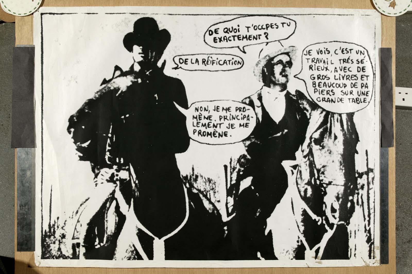 a poster featuring two retro cartoon cowboys promoting a Durutti Column concert