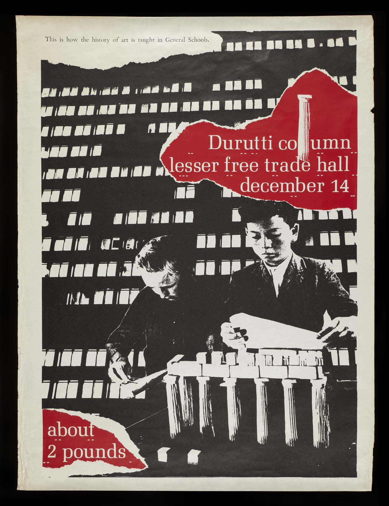 collaged concert poster with looing black and white office block, two figures in the foreground