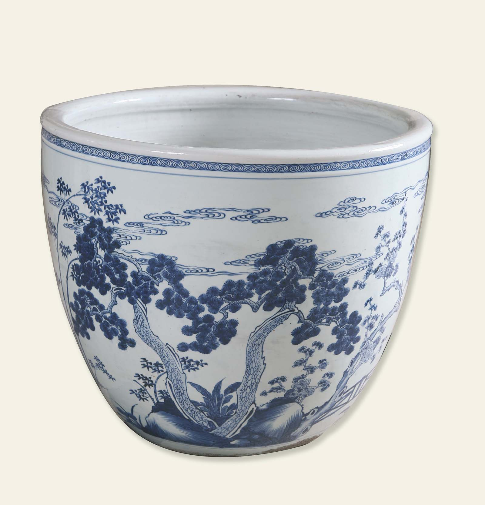 white Chinese ceramic pot with blue