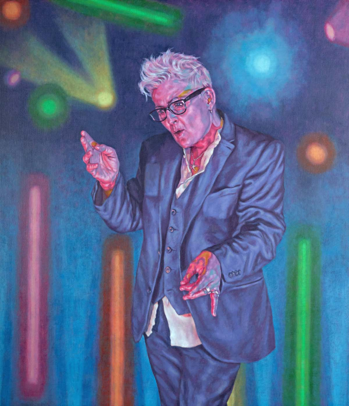 painting of a woman with short grey hair glasses and suit performing on a brightly lit stage