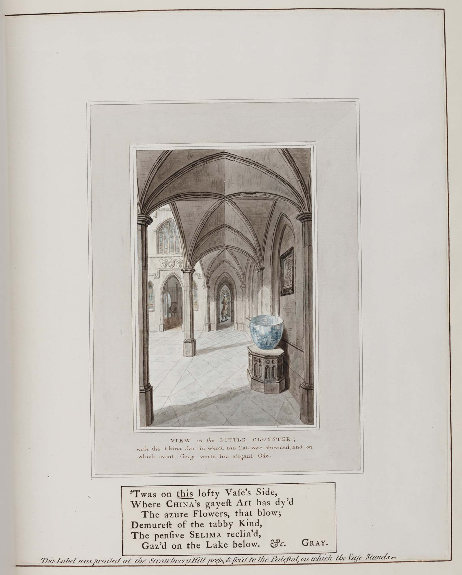 engraved illustration showing a cloistered hallway with large pot on a plinth