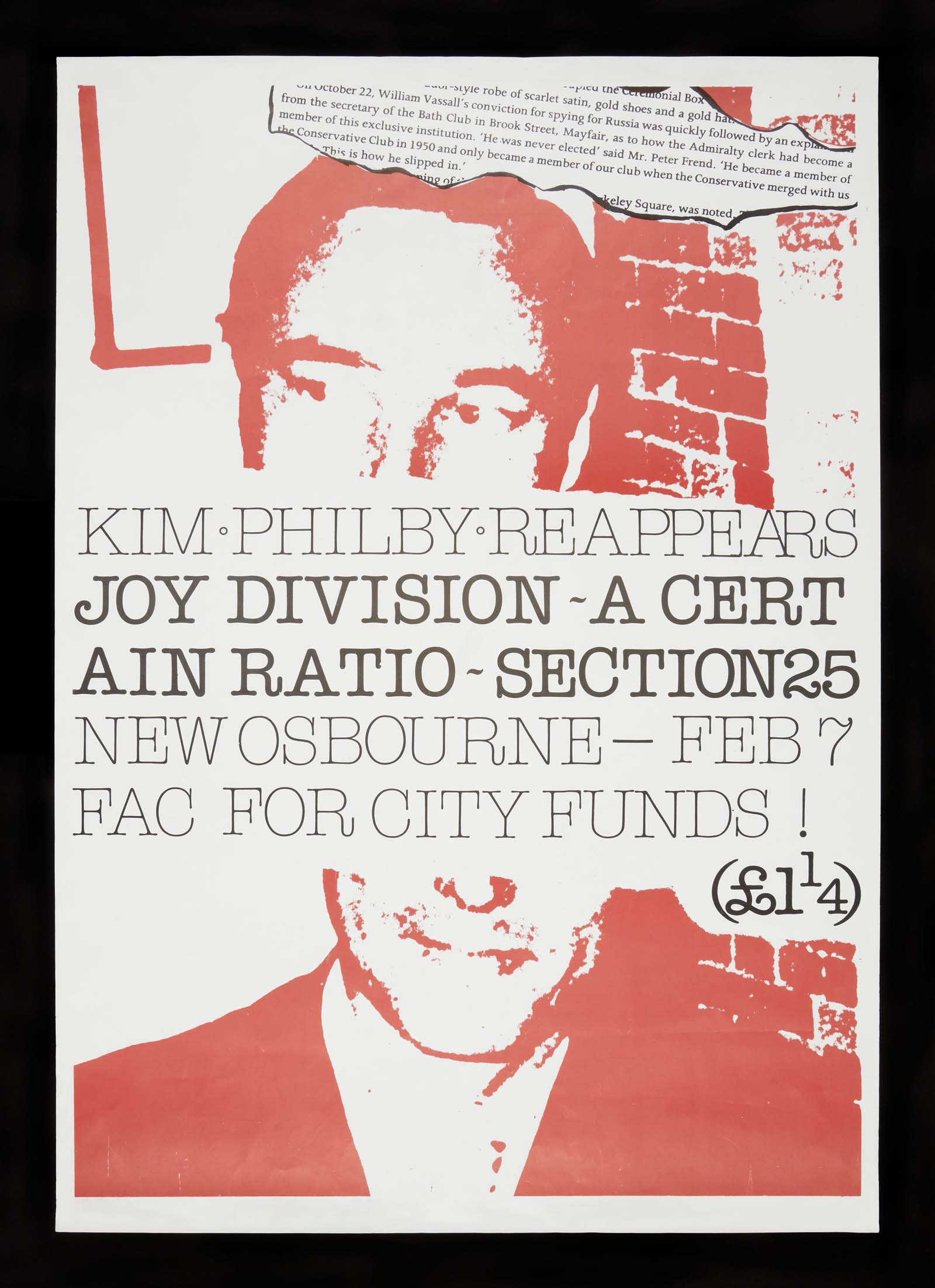 concert poster with the bands names Joy Division, Section 25 and A Certain Ratio inserted into the middle of a picture of a man printed in red