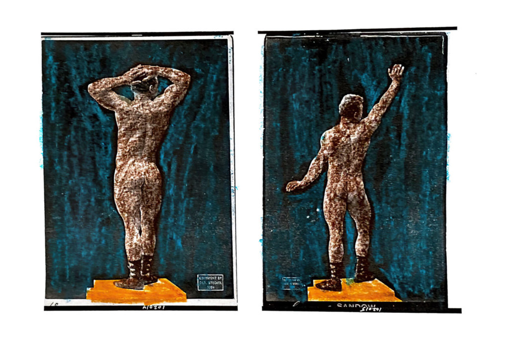diptych of figure on plinth from behind in two different poses