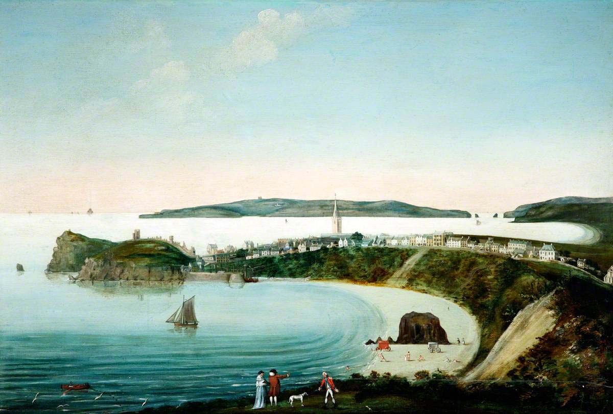 painting of a Georgian town hugging the and beach with adjoining island