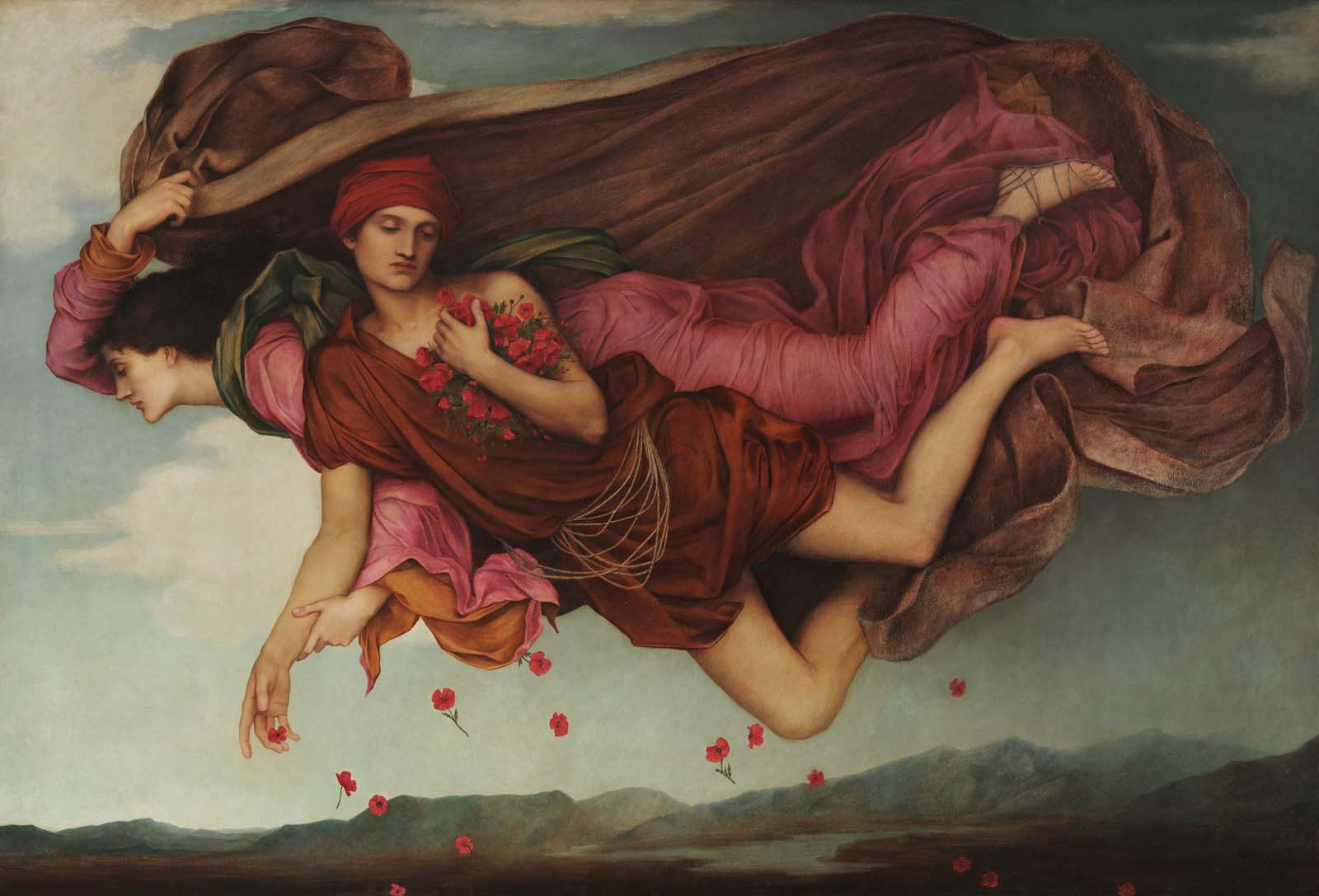 painting of two figures floating across a sky filled with poppy petals