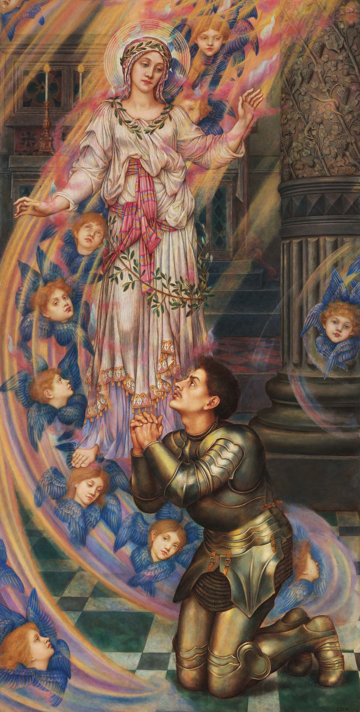 painting of a knight in armour praying before a swirling mist of faces and an ethereal female figure